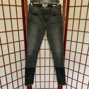frame le skinny de jeanne ombre hem jeans